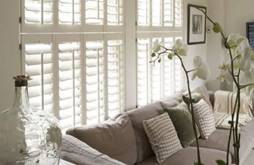 Modern White Living Room Shutters