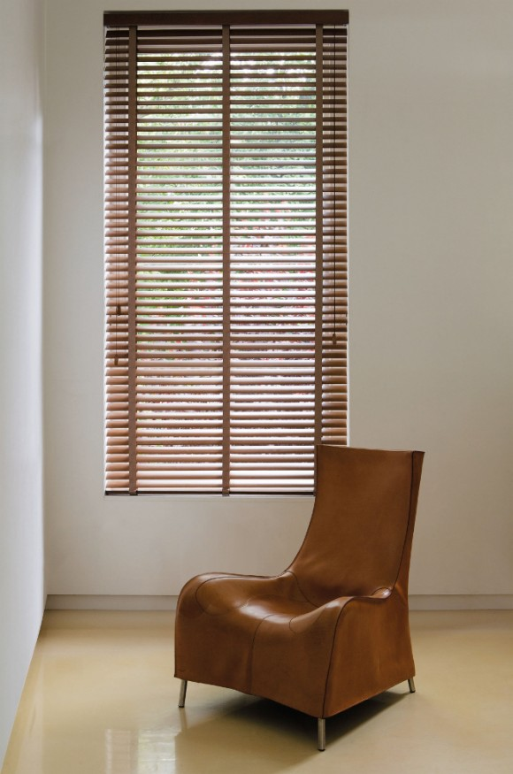 Pecan Wooden Blinds with Chair