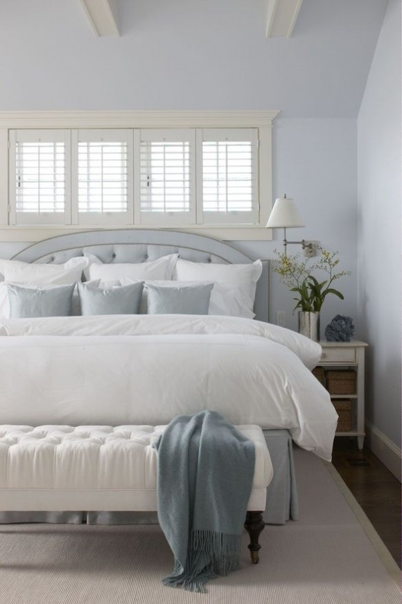 White shutter bedroom