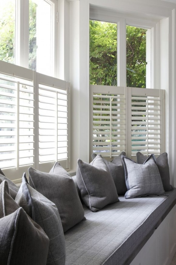 White and grey window seat
