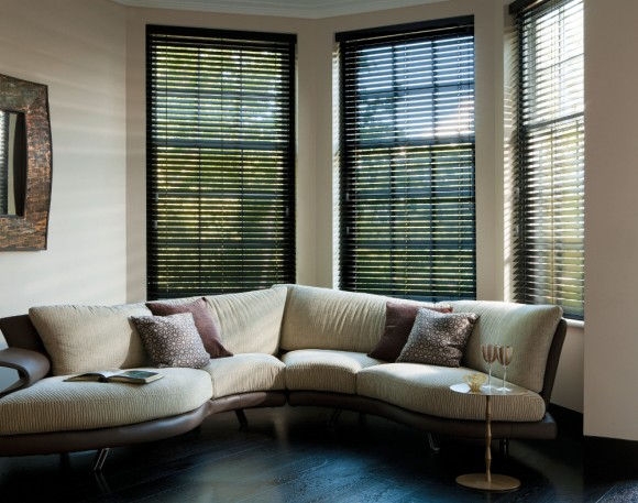 Brown Wooden Blinds in Living Room