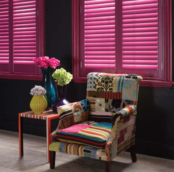 Bright Wooden blinds with Chair